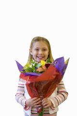 Girl holding bunch of fresh flowers, cut out