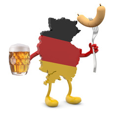 germany map with arms, legs and glass mug of beer and wurstel on