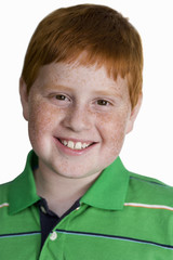 Boy with freckles and ginger hair, smiling, close-up, front view, portrait, cut out