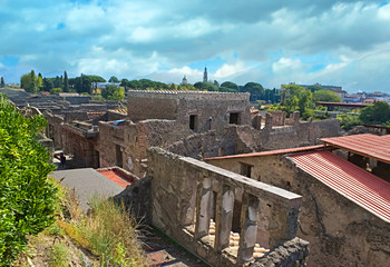the cityscape of Pompeii