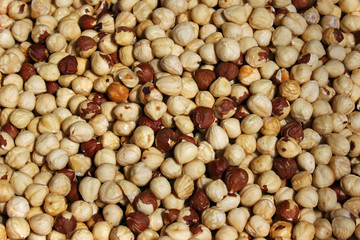 Roasted hazelnuts pile