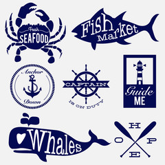 sea life vintage design badges