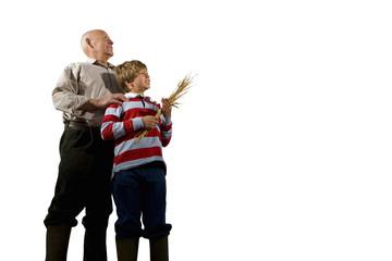 Farmer and grandson, portrait, smiling, cut out