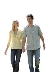 Couple holding hands, smiling, portrait, cut out