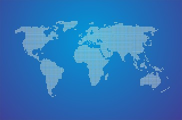 Dotted Map of the World white dots with blue background fill