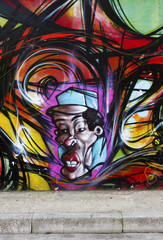 Colorful murales with face
