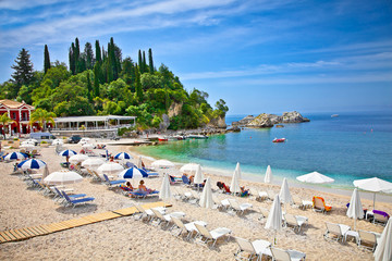 Beautiful sand beach on Ionian Sea in Parga, Greece.