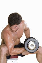 young man lifting weights, cut out