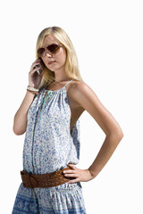 girl on phone with hand on hip, cut out
