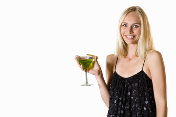 young woman in dress holding cocktail, cut out