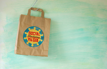 social media marketing concept,shopping bag,free copy space