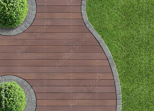 Deurstickers Tuin Gartendetail von oben