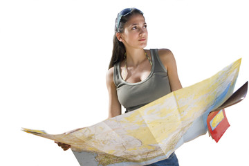 girl holding map, cut out