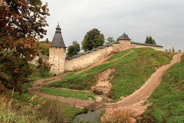 View of the Pskov fortress autumn Russia