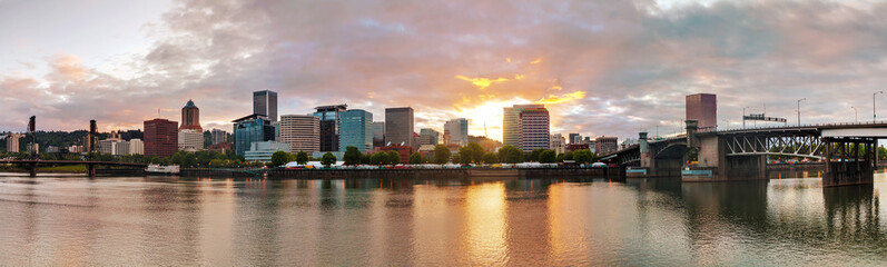 Downtown Portland cityscape in the evening