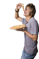 young man eating pizza, cut out