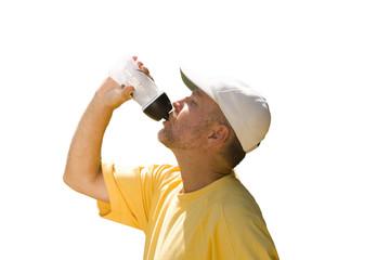 senior man in baseball cap drinking water, cut out