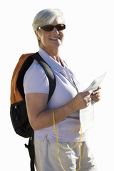senior woman in sunglasses with rucksack on back, cut out