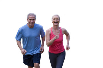 senior couple running in running clothes, cut out