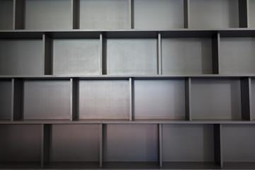 Empty university bookshelf
