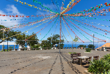 Village square with garland decoration at Madeira Island