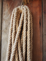 rope on the wooden wall