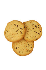 Cookies with flax seed and sesame on a white background