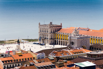 The Praca do Comercio (English: Commerce Square) is located in t