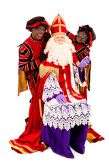 Sinterklaas  and black pete on white background