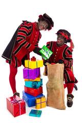 Black Pete  zwarte piet showing gift
