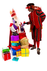 Sinterklaas and zwarte piet with telephone