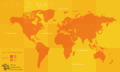 World Map #Vector Illustration, Orange Dot Pattern