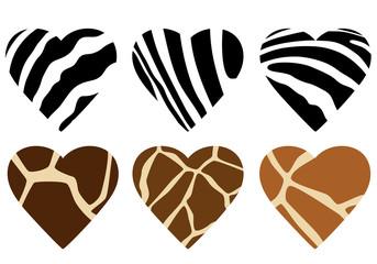 animal hide print hearts
