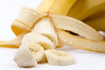 Sliced Banana on White
