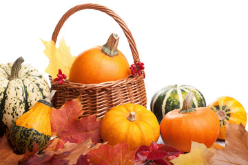 decorative pumpkins and autumn leaves isolated