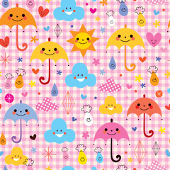 cute umbrellas raindrops flowers clouds characters pattern