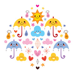 cute umbrellas raindrops flowers clouds characters illustration