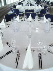 Place settings on round banquet table