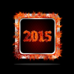 Happy 2015 burning button.