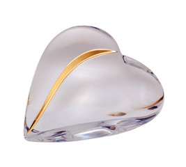 Glass heart isolated