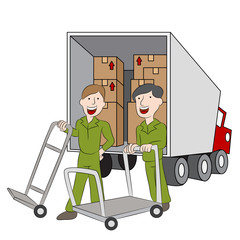 Moving Company Employees and Truck