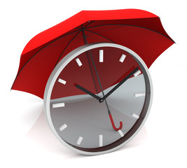 Time Clock with Red Umbrella