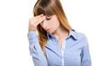 Woman having a headache isolated on white