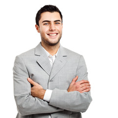 Smiling businessman on white background