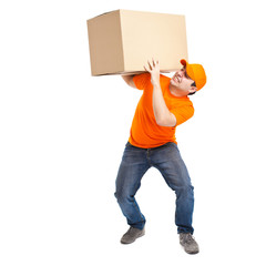 Full length portrait of a funny deliverer lifting an heavy box.
