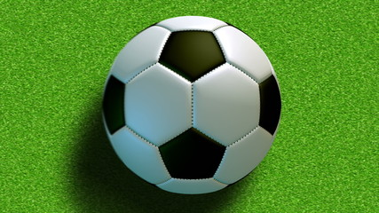 Rolling soccer ball on the field.Loop-able and seamless