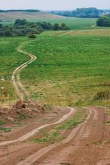Beautiful view of rural road in Tatarstan
