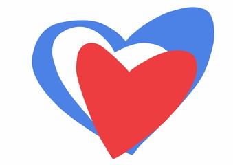 doodle France heart flag