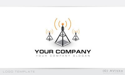 Logo template, vector, telecommunications, wireless, hitech