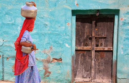 Spoed canvasdoek 2cm dik India Couleurs du Rajasthan en Inde du nord